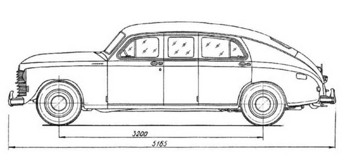 Один из первых чертежей ГАЗ-М-12 «ЗИМ»