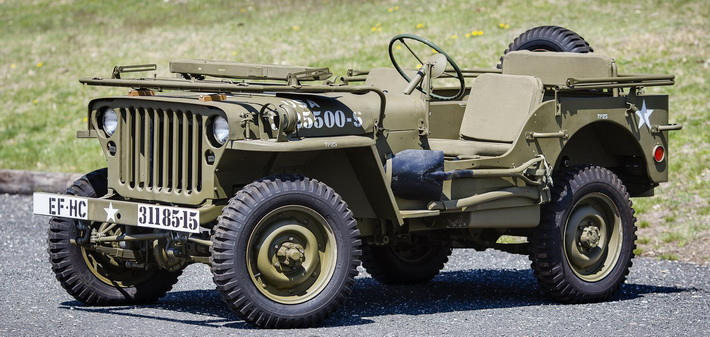 Willys MB со сложенным лобовым стеклом