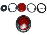 Rear light rim with glass and gasket assembly